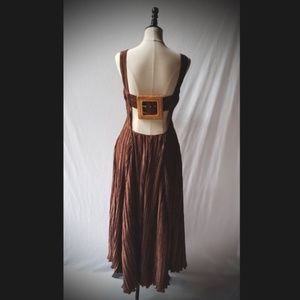 Cult Gaia Brown Pleated Buckle Back Dress M NWTs